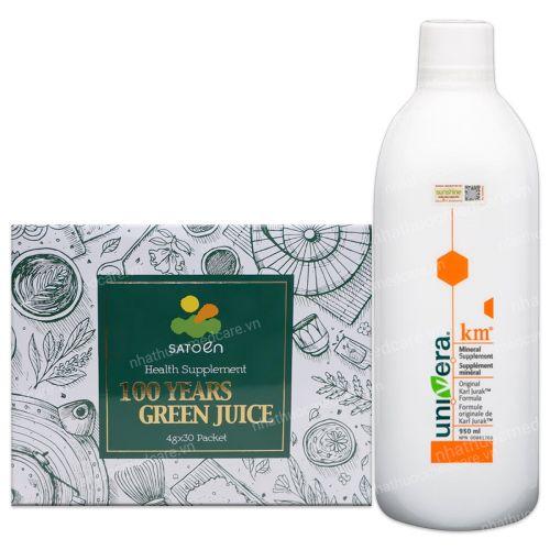 Combo 1 chai Thải độc Univera và 1 hộp 100 years green jucie